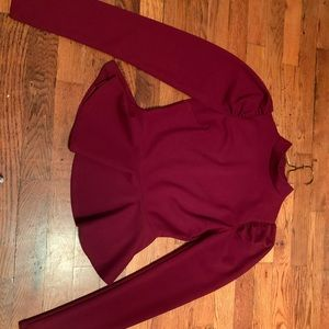 Burgundy long sleeve peplum